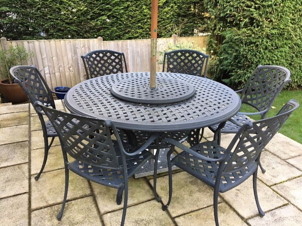 bedroom chair gumtree ferndown rubber feet bunnings bramblecrest aluminium garden table with 6 x chairs
