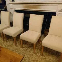 Cream Upholstered Dining Chairs Wicker Rocking Chair Pier One Set Of 4 Beautiful In Plymouth