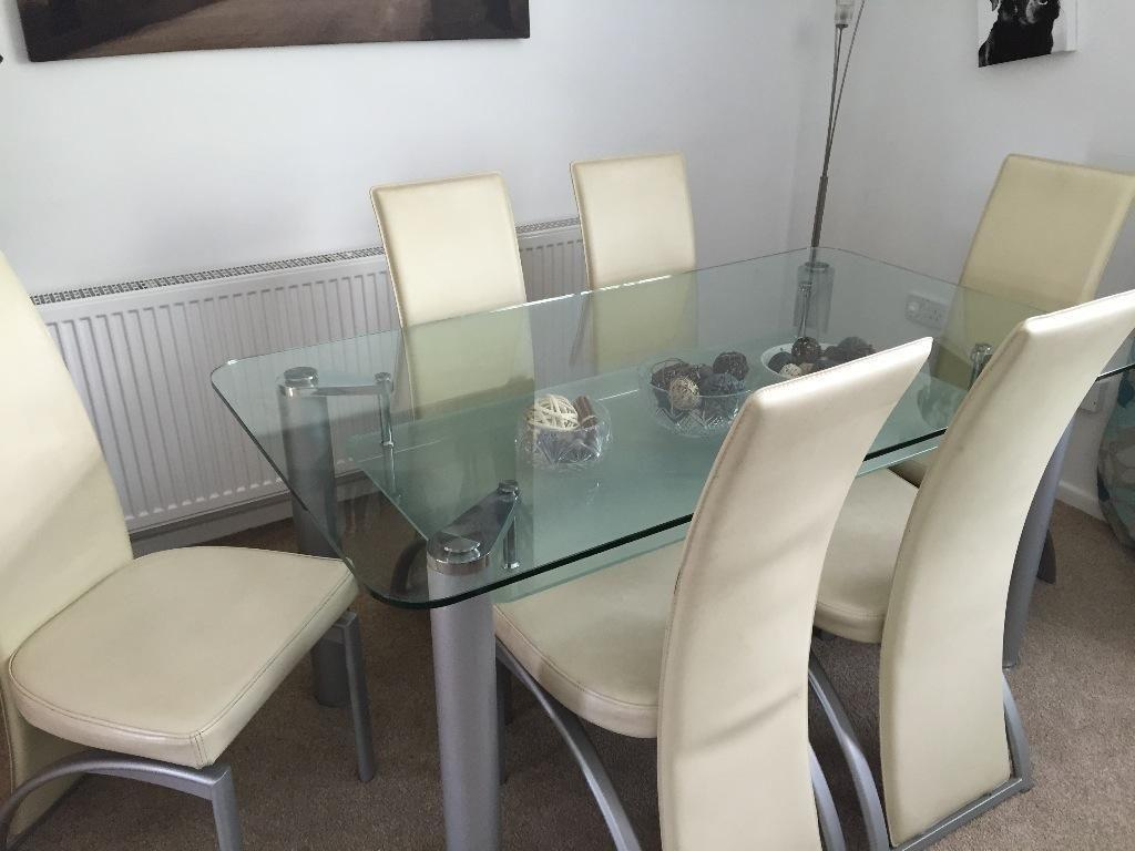 dining room table and chairs gumtree office chair on hardwood floor glass 6 in cwmbran