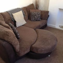 Dfs Brown Half Leather Corner Sofa Cork With Moon Footstool In