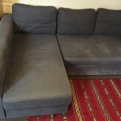 Corner Sofa Bed Chaise Longue Brown Leather Ikea Manstad With And