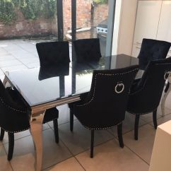 Chrome Dining Chairs Uk Stackable Padded Black Glass And Table With 6 Knocker