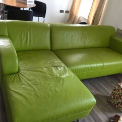 Green Leather Corner Sofa Bed Square Arm Uk Dfs Retro Lime In Manchester