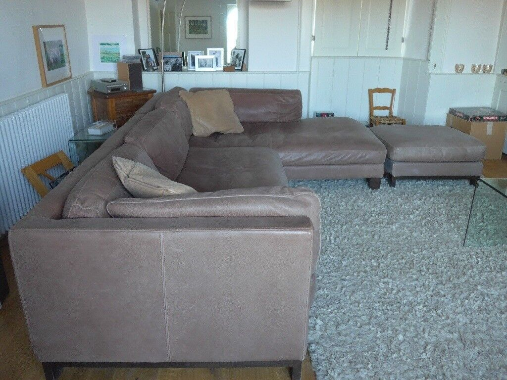 dfs brown half leather corner sofa blu dot mono large soft in stroud
