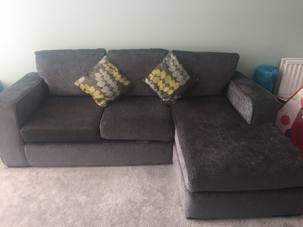dfs corner sofa grey fabric lane recliners left hand in cambridge