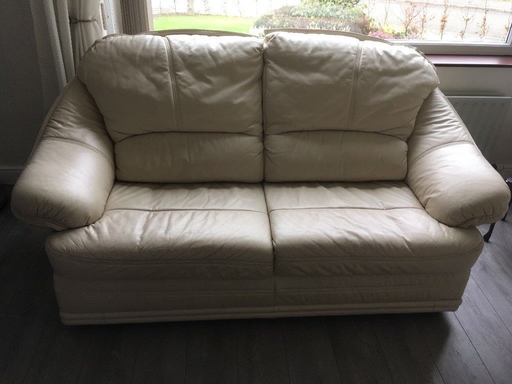 sofa bed reduced clearance sectional cream leather 2 3 seater vgc in horwich