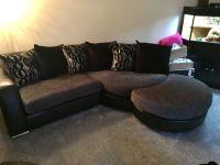 Black And Silver Sofa Dfs Mylo Leather Fabric Curve Sofa ...