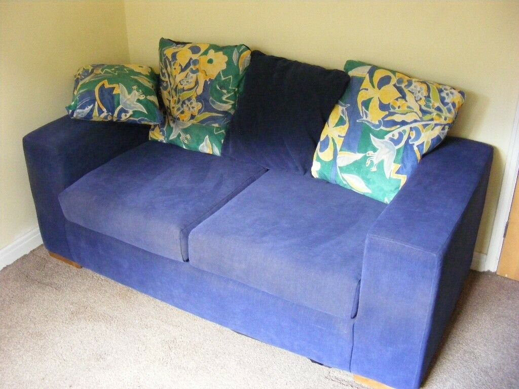 sofa bed reduced fun furnishings blue denim sleeper two seat hardly used as new in