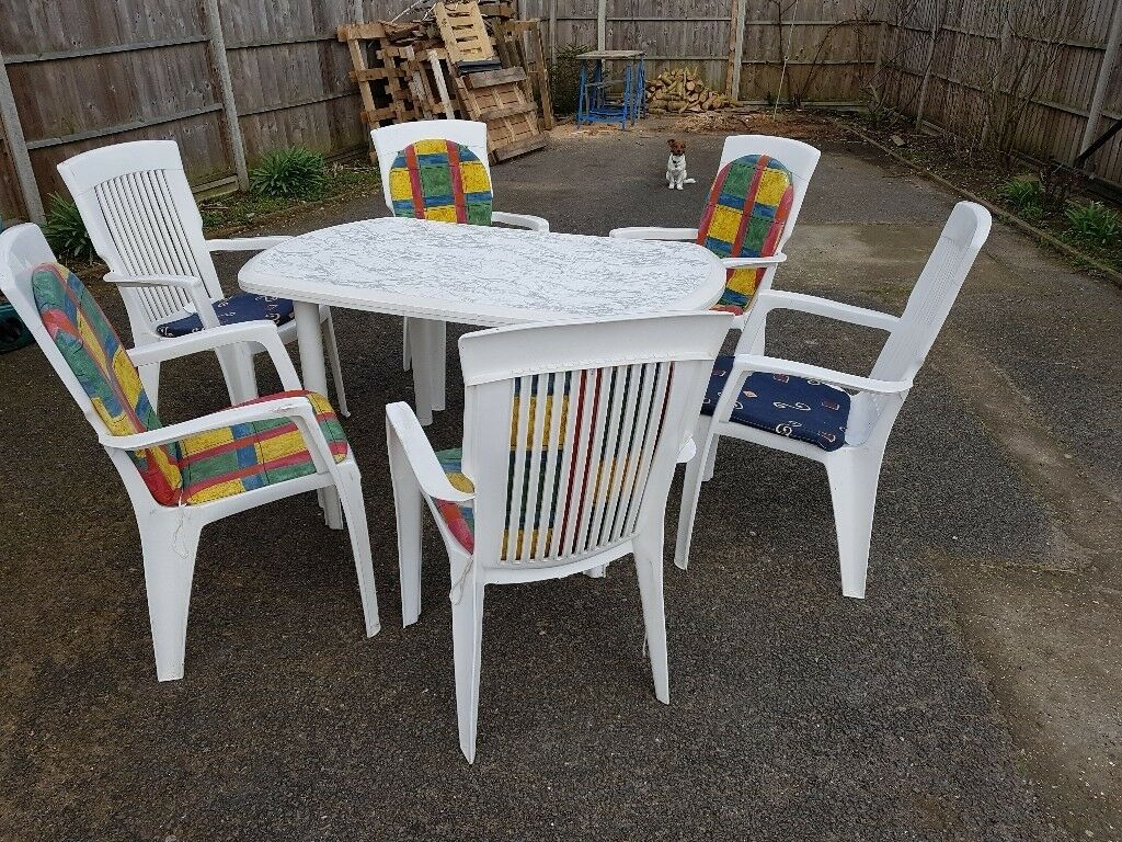 White Plastic Patio Chairs White Plastic Patio Table And 6 Chairs In Thetford