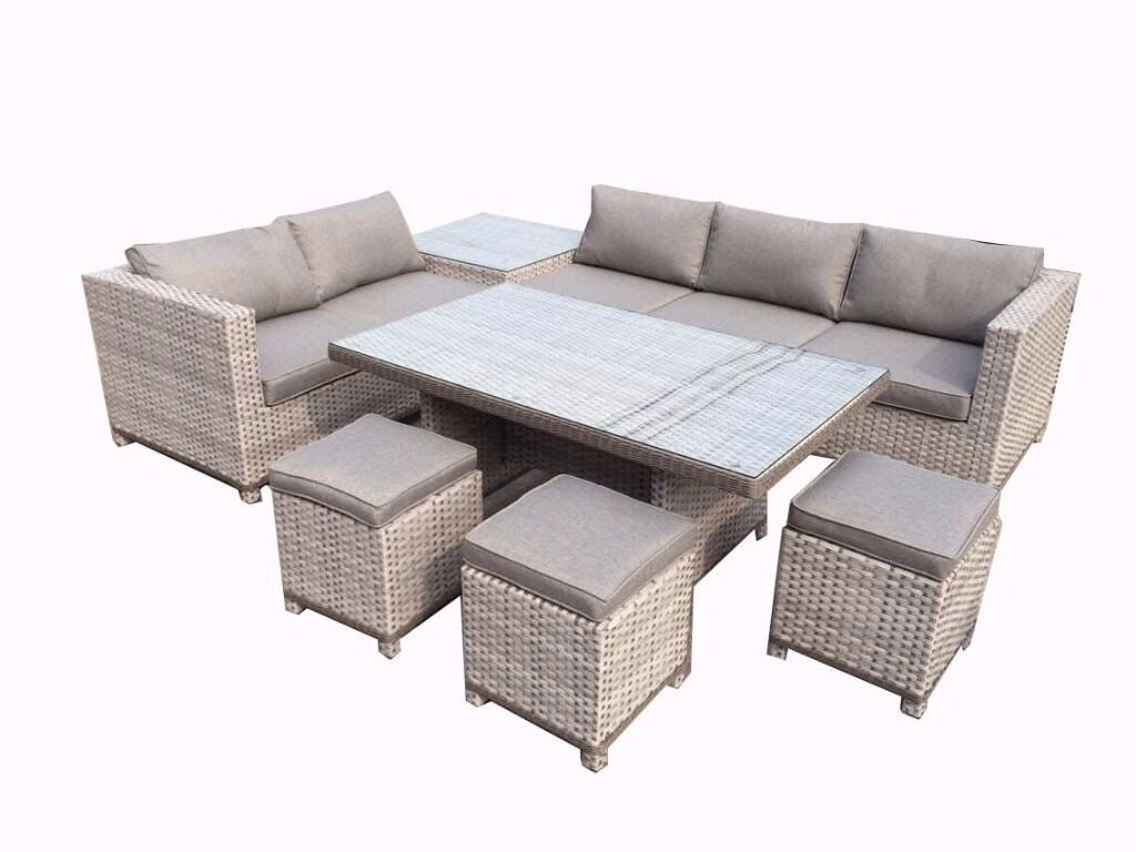 garden corner sofa with dining table deco convertible reviews all weather stunning grey rattan set