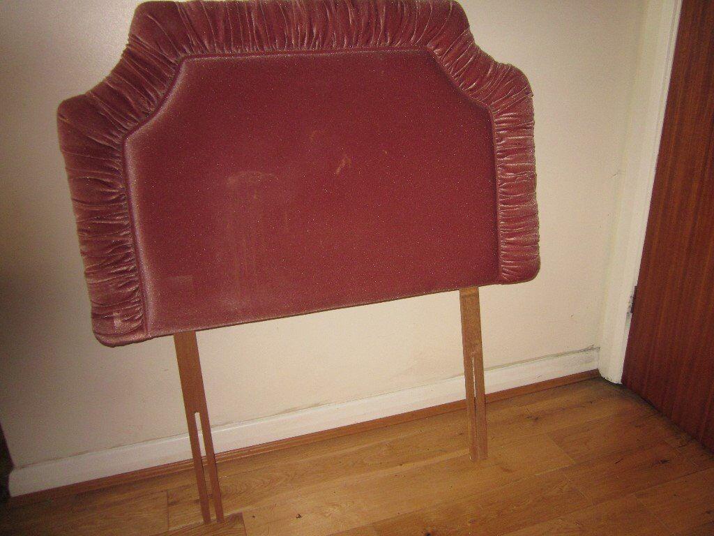 bedroom chair gumtree ferndown wicker bowl headboard upholstered in pink single bed size