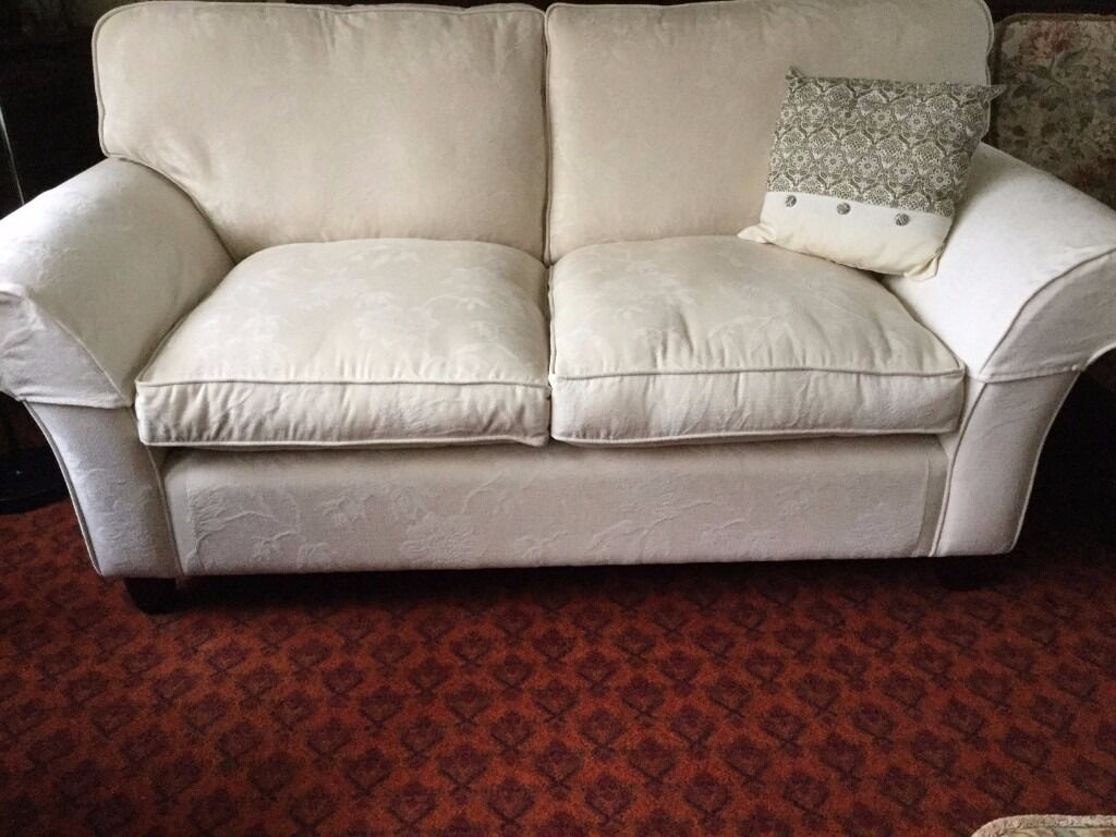 fairmont sofa laura ashley ivory color leather set in cream with additional arm protectors cushion spare upholstery cloth