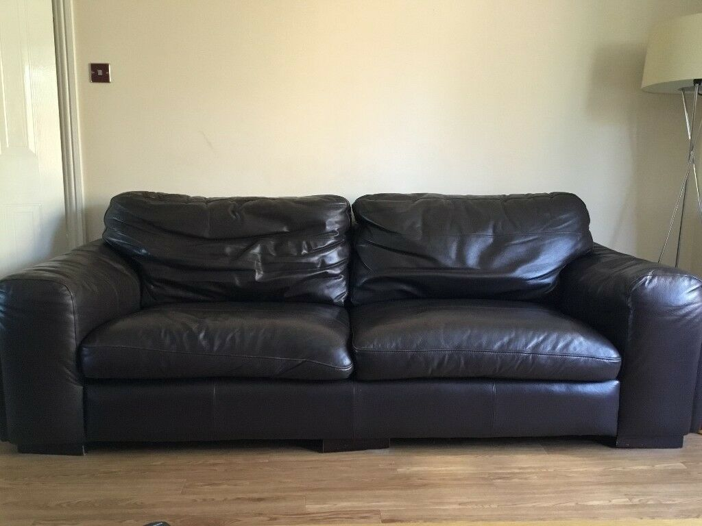 leather sofa brown dfs ligne roset bed instructions 3 seater large in bridgend