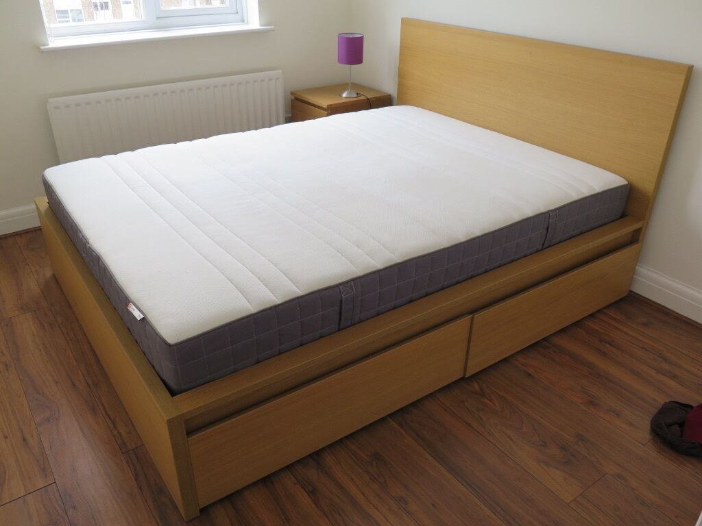 Ikea Malmo Double Bed Standard King Size Incl Hovag