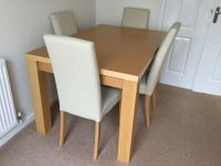 Next Oslo Beech Dining Table and four leather chairs | in ...