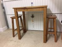 Next Hartford Solid Wood Breakfast Bar Table and 2 Stools