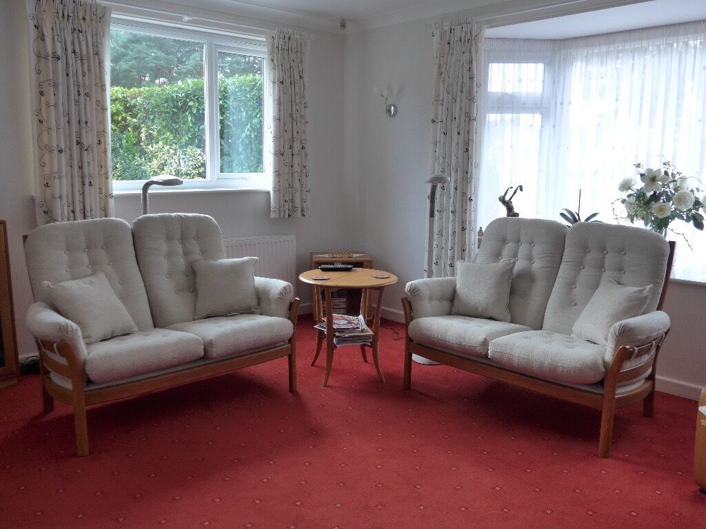 bedroom chair gumtree ferndown swing on sale 2 ercol saville two seater settees re upholstered covered excellent condition