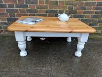 Solid pine coffee table. Rustic farmhouse shabby chic ...