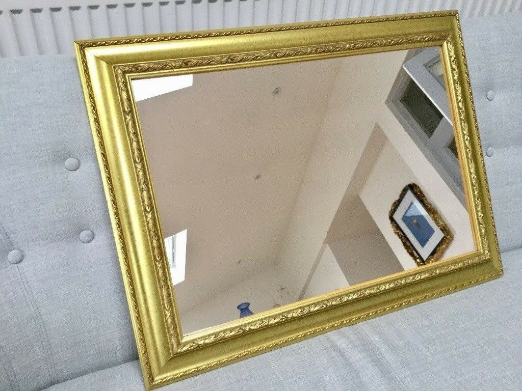 VINTAGE STYLE GOLD FRAMED MIRROR, ORNATE FRAME, WALL OR