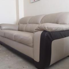 3 Seater Leather Sofa Dfs Mart Boise Id Used Cream And Brown 43 Armchair