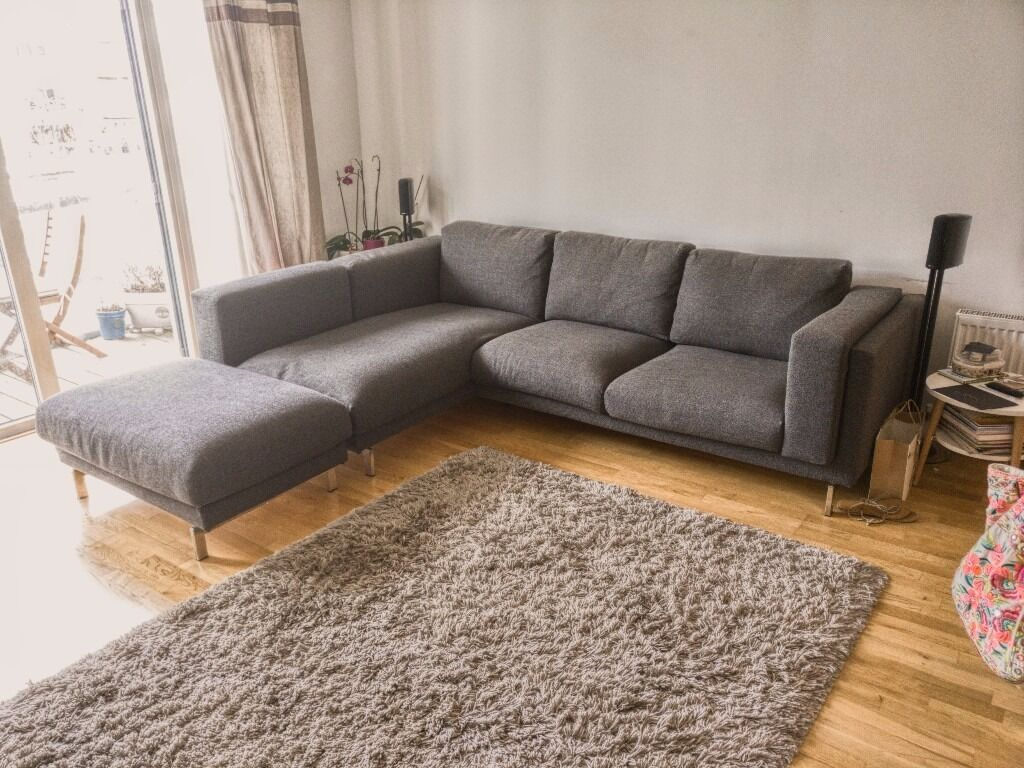 ikea rp corner sofa covers uk small living room designs nockeby grey fabric chaise and footstool