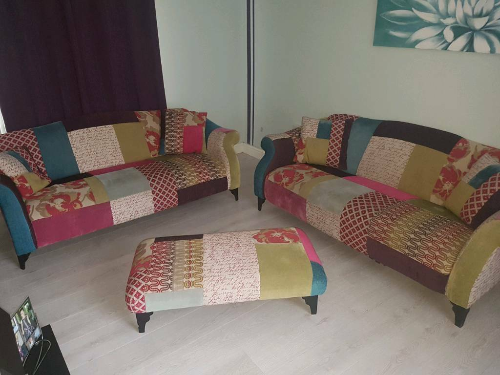 2 seater leather sofas at dfs sectional buffalo ny 3 shout patchwork sofa | in burton-on-trent ...