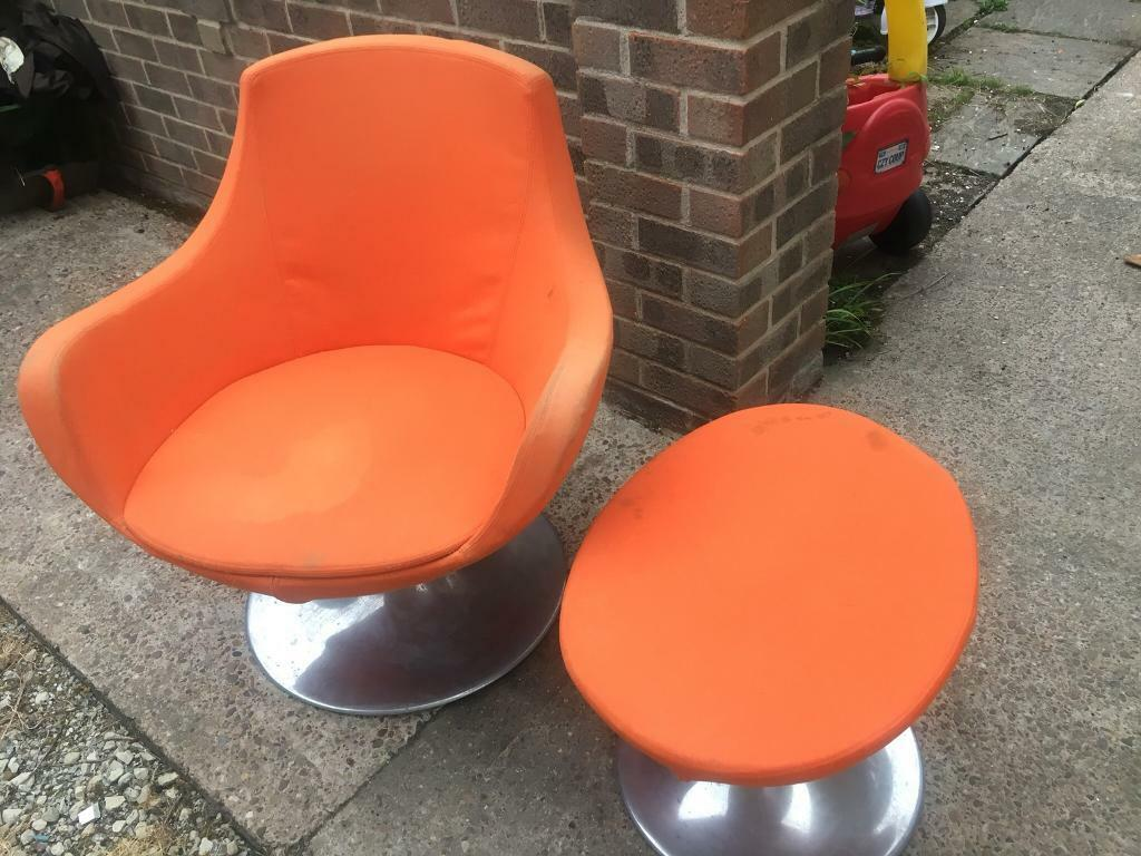 orange bucket chair velvet tufted dining chairs retro with foot stool in bramley south