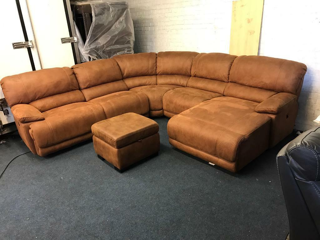 corner sofa with recliner and chaise wood frame diy harvey 39s guvnor brown tan suede fabric large electric