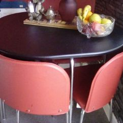 Hideaway Kitchen Table Cool Knives Chairs Black Red Modern As New In