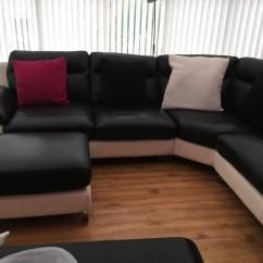 Leather Sofa Black And White Canapele Italsofa Baia Mare Corner Poofy In Norwich