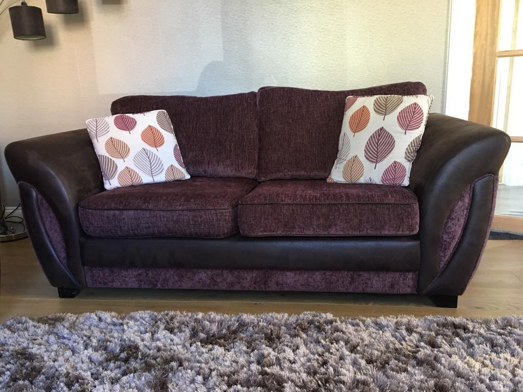 leather fabric mix sofas uk thomasville westport sofa reduced 2 x brown seater in
