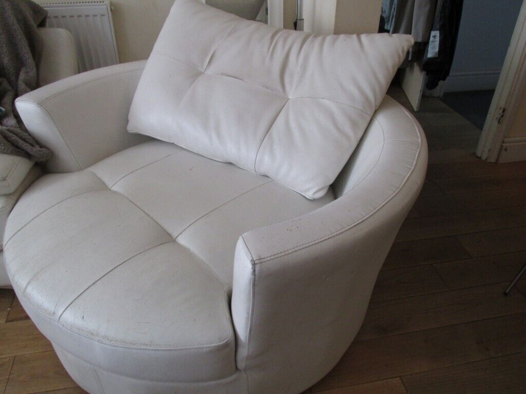Free Large Round White Leather Living Room Swivel Chair