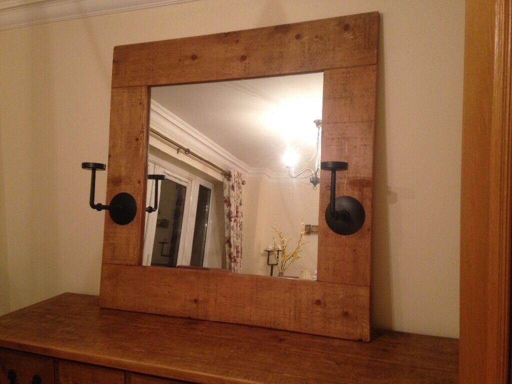 Large Rustic Wooden Framed Mirror with Iron Candleholers