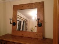 Large Rustic Wooden Framed Mirror with Iron Candleholers ...
