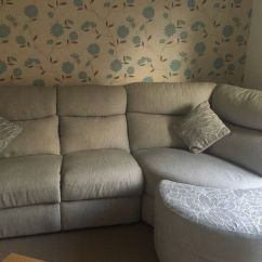 Second Hand Leather Sofa For Sale White Bed Light Grey/beige Corner With Half Moon Footstool | In ...