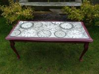 Shabby Chic Steampunk Coffee Table in Burgundy | in ...