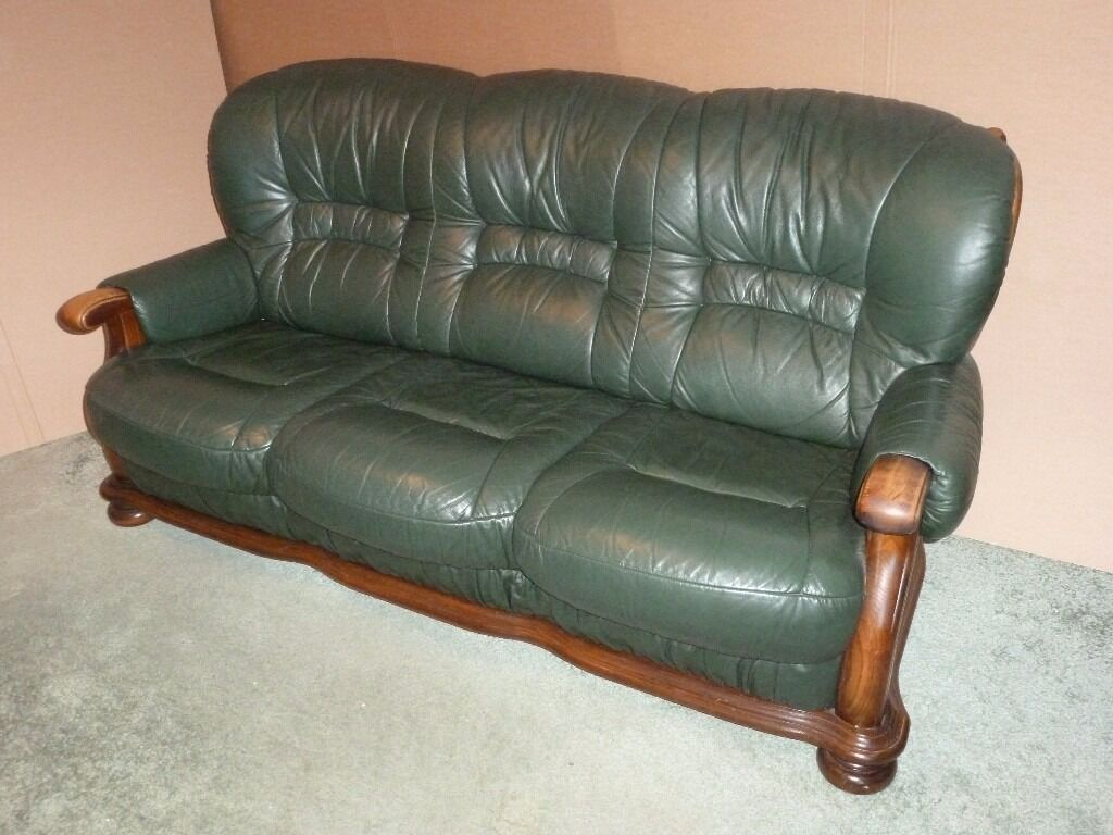 Green Leather 3 Piece Suite 3 Seater Sofa  2 Armchairs