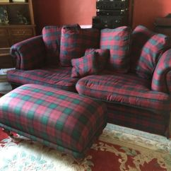 Black Leather Sofas On Gumtree West Elm Sofa Uk Lindsay Tartan And Footstool | In Crieff, Perth ...