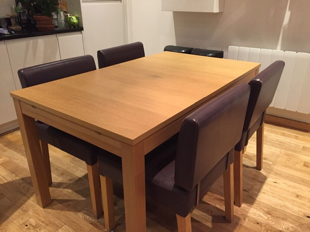 ikea wooden dining table 4 chairs wedding chair cover hire burton on trent bjursta extendable in oak veneer