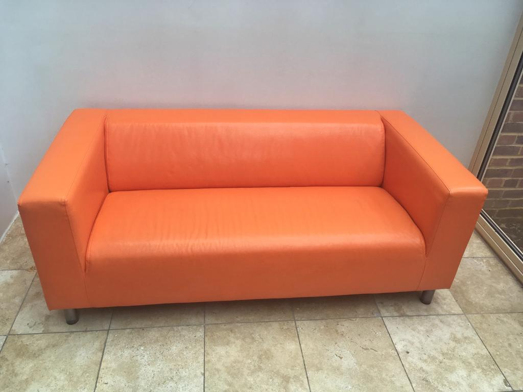 Orange Leather Chair Orange Leather Ikea Klippan Sofa In Lewes East Sussex