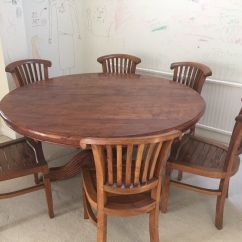 Solid Wood Table And Chairs Revolving Chair Amazon Indonesian Teak Round Dining 8