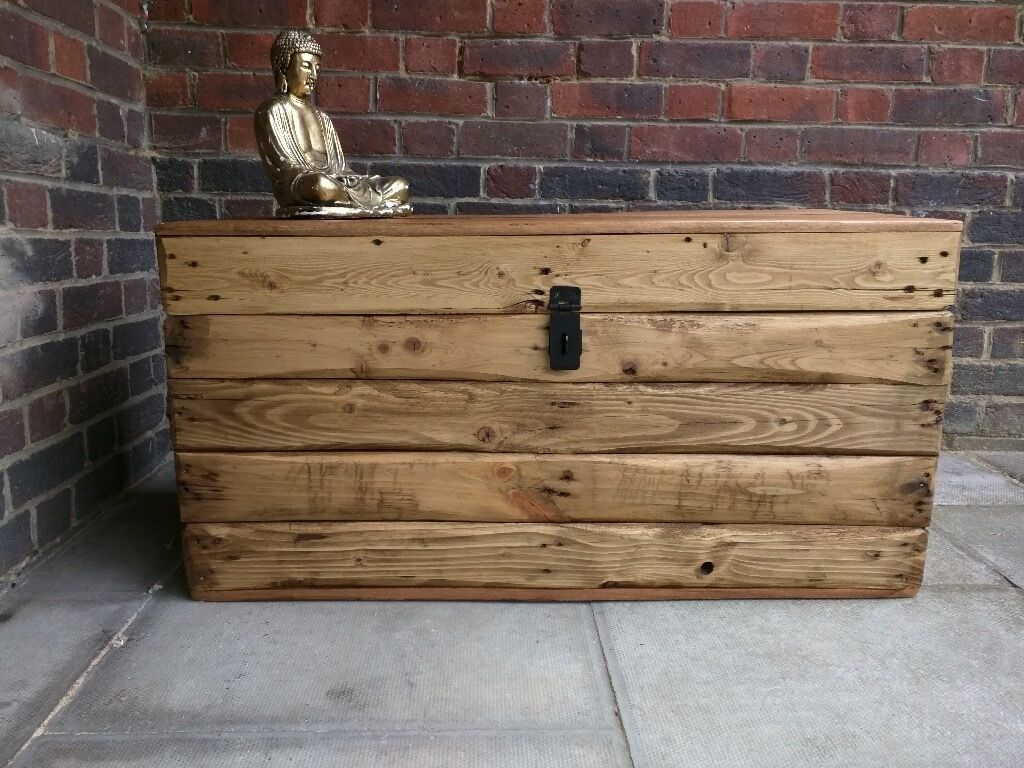 Rustic Trunk Chest/coffee Table/bench Storage/ Blanket Box