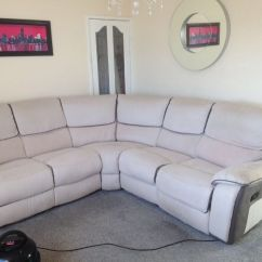 Grey Leather Sofas Harveys Florence Knoll Sofa Reproduction Cream And Recliner Corner In Jarrow