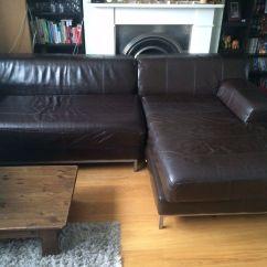 Kramfors Leather Sofa Sofascore Barcelona B Vs Zaragoza Ikea And Pouf Dark Brown In