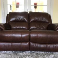 Two Seater Recliner Sofa Gumtree Kimono Grey Fabric Bed Brown Leather Reclining In Stepps