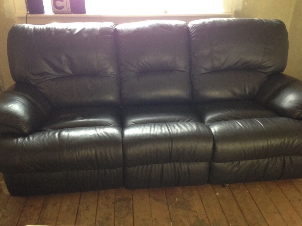 black leather sofas on gumtree blue sofa for sale reids 3 seat and 2 recliners