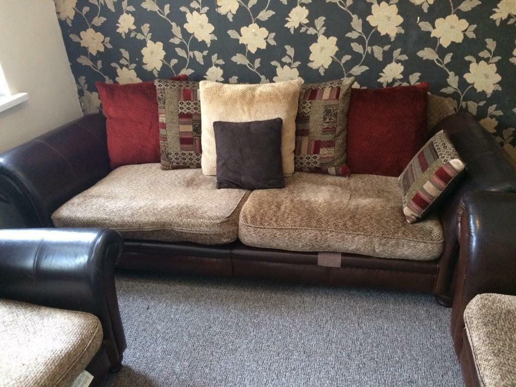sofa half leather interior design black dfs perez set splits in and fabric like