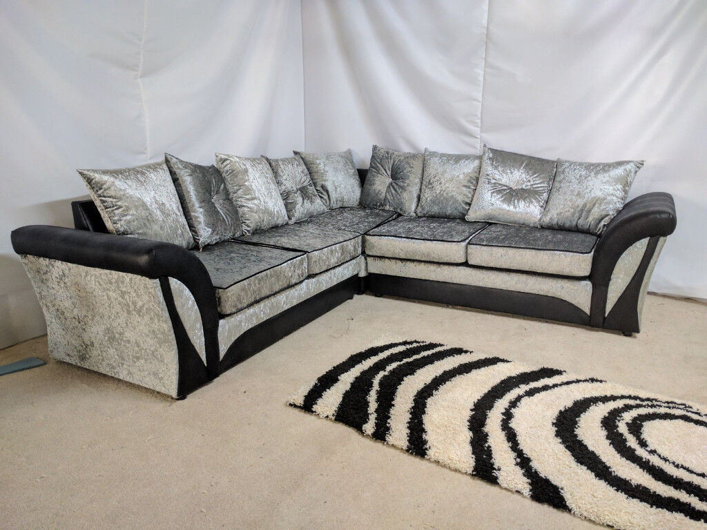 corner sofa uk delivery sleeper bed mattress replacement express shannon crushed velvet