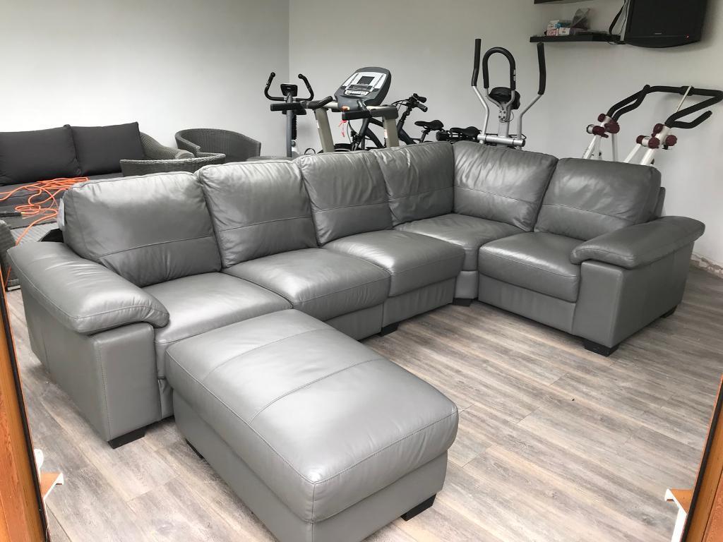 Grey Leather Corner Sofa  in Wolverhampton West Midlands