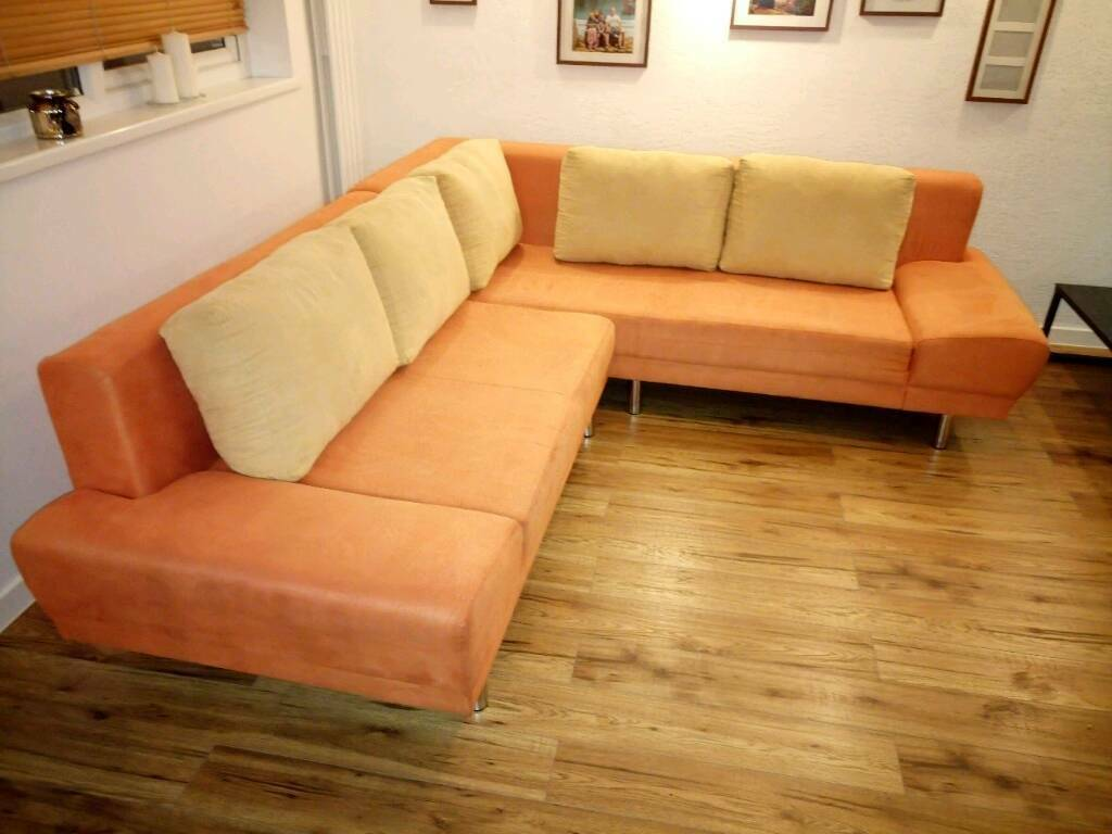 orange sofa bed casablanca fabric platform with storage large corner in middleton